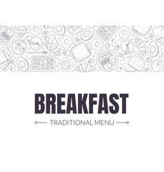 breakfast banner landing page template morning vector image