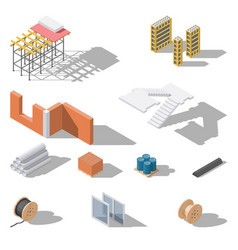 Building elements isometric icon set vector