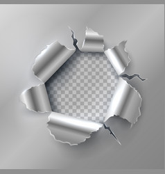 bullet hole in metal opening with ripped steel vector image