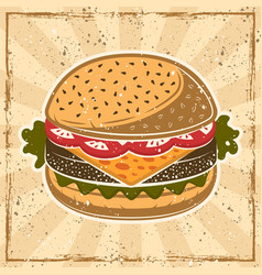 burger colored in vintage style vector image