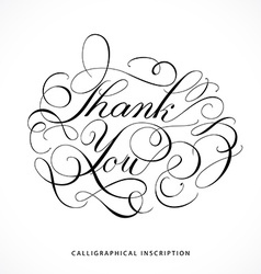 Calligraphical inscription Thank you vector