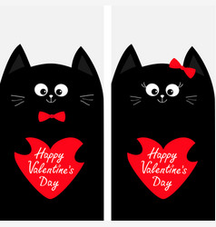 cat family couple holding red heart shape paper vector image
