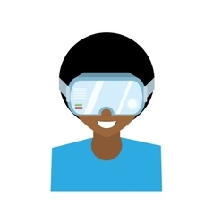 Character man virtual reality glasses technology vector