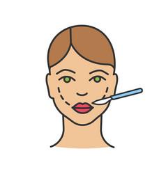 cheek lift surgery color icon vector image