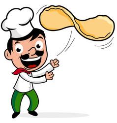 Chef throwing pizza dough vector