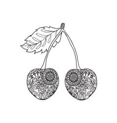 Cherry hand-drawn doodle entangle tribal design vector