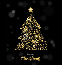 Christmas card luxury gold and black pine tree vector