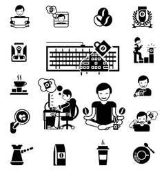 Coffee Black White Icons Set vector