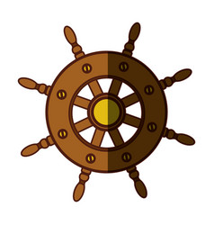 Colorful silhouette of boat helm with middle vector