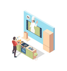 Cooking online preparing food broadcasting lesson vector