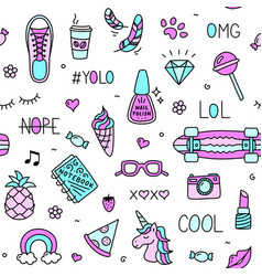 cool teenager stuff and words seamless pattern vector image