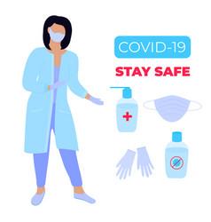 Covid19-19 coronavirus epidemic female doctor vector
