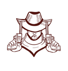 Cowboy holding pistols in hand drawn style vector
