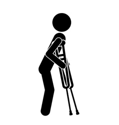crutches person invalidates isolated icon design vector image