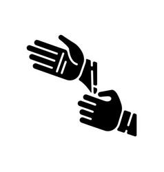 Disposable sterile gloves black glyph icon vector