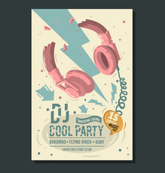 dj party poster flyer design with broken vector image