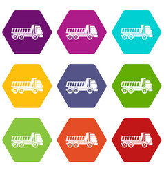 dumper truck icon set color hexahedron vector image