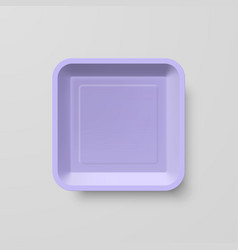 Empty purple plastic food square container on vector