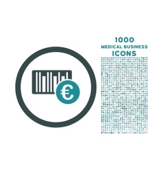 Euro Barcode Rounded Icon with 1000 Bonus Icons vector image
