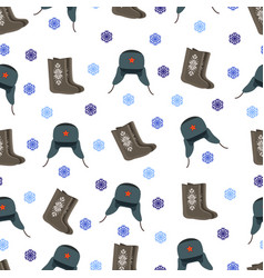 felt boot and warm hat pattern vector image