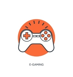 Flat lined joystick icon vector