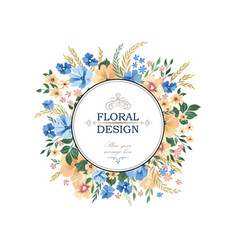 Floral frame pattern flower circle border vector