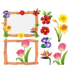 Frame template with different types of flowers vector