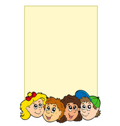 frame with various kids faces vector image