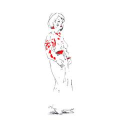 geisha woman japanese girls hand vector image