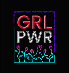 girls power slogan print embroidery t-shirt vector image