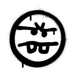 graffiti annoyed emoticon sprayed in black white vector image