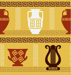 Greek art - vases lyre meander seamless pattern vector