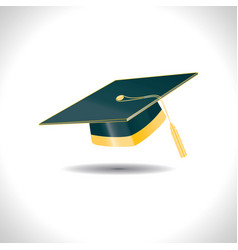 Green education student hat with golden elements vector