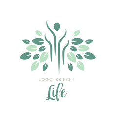 Green life logo for yoga class wellness or vector