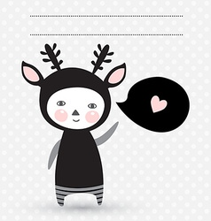 Greeting card with cute monster vector image vector image