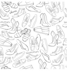 Hand drawn sketch seamless pattern of shoes vector
