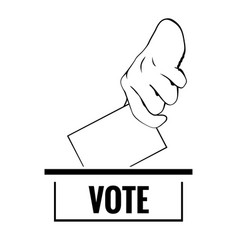 Hand with lection card and text vote vector