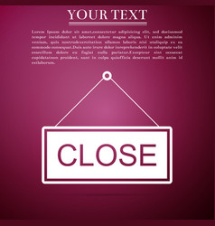 hanging sign with text closed icon isolated vector image