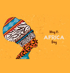 Happy africa day card animal print woman vector