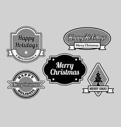 happy holidays label badges vector image