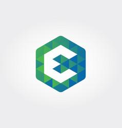 hexagon letter e icon vector image