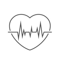 image a heart with a pulse linear icon vector image