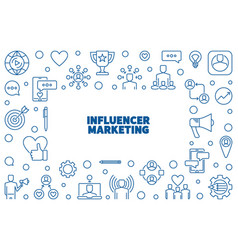 influencer marketing thin line horizontal vector image