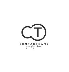 Initial ct letter logo with circle template vector