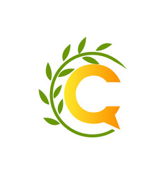 initial letter c with paper and leaf shape in vector image