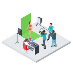 Isometric filming or blogging concept vector