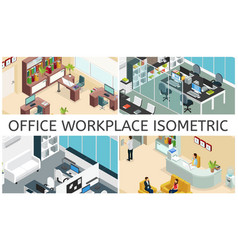 Isometric office interiors composition vector