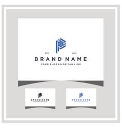 Letter p hexagon tech logo design and business vector