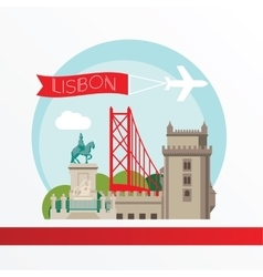 lisbon detailed silhouette trendy vector image
