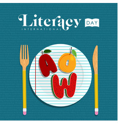 literacy day concept of food letter for education vector image